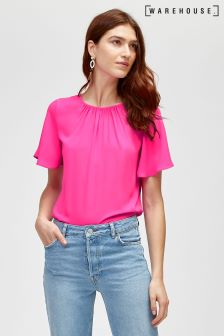 Warehouse Pink Angel Sleeve Top