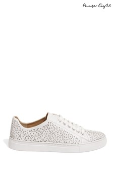 Phase Eight White Fiona Laser Cut Trainer