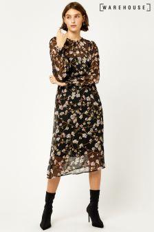 Warehouse Black Sweet Pea Print Dress