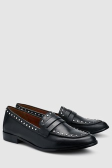 Leather Studded Penny Loafers