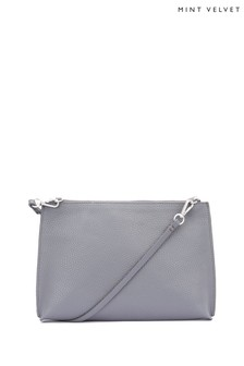 Mint Velvet Grey Paige Steel Zip Cross-Body Bag