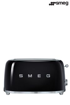 Smeg Black 4 Slice Long Toaster