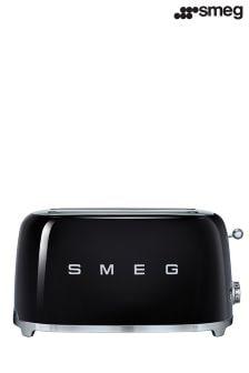 Smeg Black 4 Slice Long Toaster