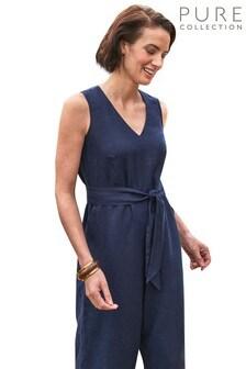Pure Collection Blue Linen V-Neck Jumpsuit
