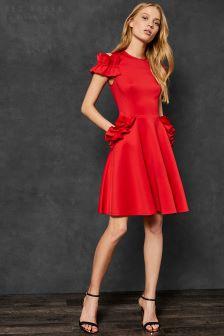 Ted Baker Deneese Red Frill Cold Shoulder Dress