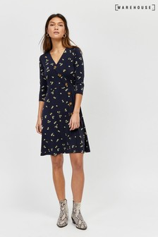 Warehouse Blue Ditsy Button Through Dress