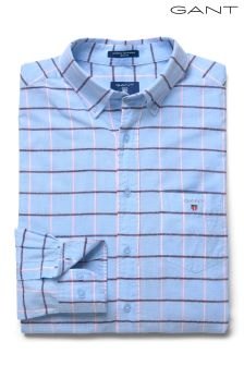 GANT Blue Long Sleeved Regular Fit Check Madras Shirt