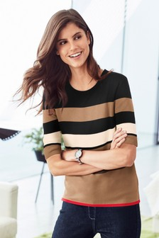 Stripe Short Sleeve Sweater