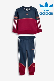 adidas Originals Little Kids Burgundy/Navy Outline Crew And Joggers Set