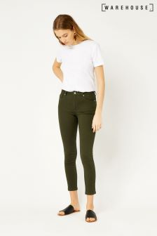 Warehouse Khaki Crop Skinny Cut Jean