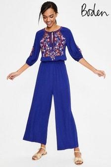 Boden Blue Natalie Embroidered Jumpsuit
