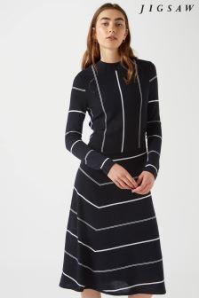 Jigsaw Blue Diagonal Cut Stripe Dress