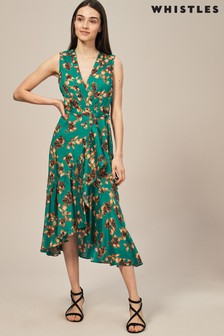 Whistles Green Capri Print Wrap Dress