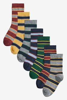 7 Pack Cotton Rich Rugby Stripe Socks (Older)