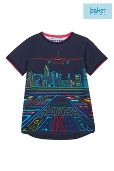 baker by Ted Baker Younger Boys Navy Logo Printed T-Shirt