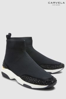 Carvela Black Link Sock Embellished Trim Trainer