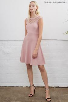 French Connection Rose Petal Pink Crepe Knit Flared Dress