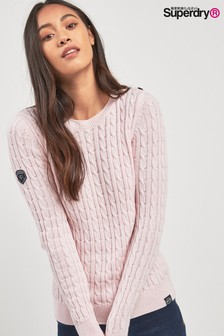 Superdry Pink Croyde Cable Knit Jumper