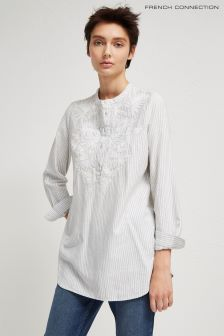 French Connection White Striped Grandad Shirt
