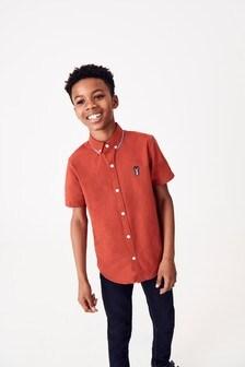 Short Sleeve Fluro Collar Oxford Shirt (3-16yrs)