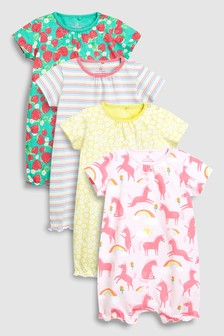 Bright Print Rompers Four Pack (0mths-2yrs)