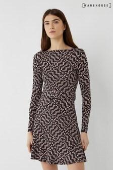 Warehouse Black Diamond Print Slash Neck Dress