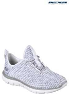 Skechers® Grey Flex Appeal 2.0 Bold Deconstructed Knitted Lace-Up