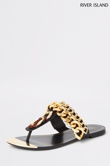 River Island Black Hardware Toe Thong Sandal