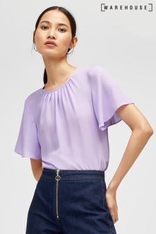 Warehouse Lilac Angel Sleeve Top