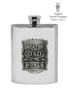 Greatest Dad In The World Pewter Hip Flask 6 oz