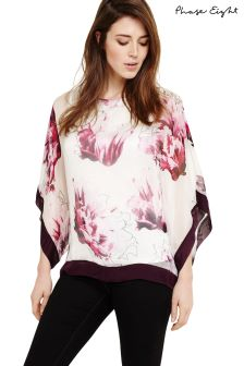 Phase Eight Magenta Peony Floral Silk Blouse