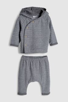 Textured Hooded Top And Joggers Set (0mths-2yrs)