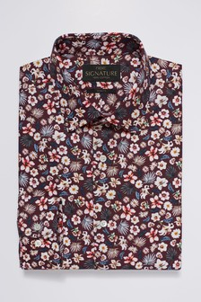 Signature Texta Fabric Floral Printed Slim Fit Shirt