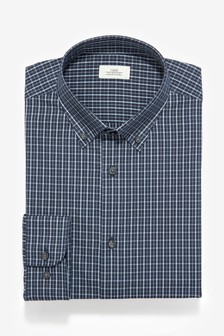 Easy Care Slim Fit Single Cuff Check Button Down Collar Shirt