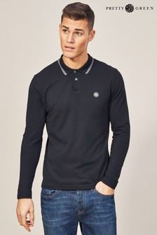 Pretty Green Black Barton Long Sleeve Polo