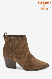 Superdry Brown Heeled Chelsea Boots
