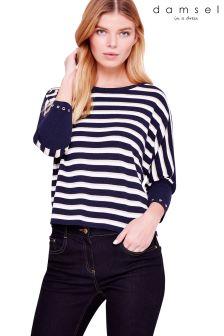 Damsel Blue Neeva Shimmer Stripe Knit Jumper