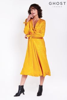Ghost London Gold Jacquard Savannah Long Sleeve Dress