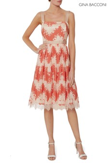Gina Bacconi Orange Raina Lace Dress