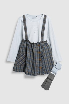 Skirt With Braces, T-Shirt And Tights Set (3mths-6yrs)