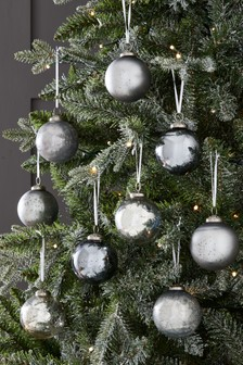 Set of 9 Silver Glass Baubles