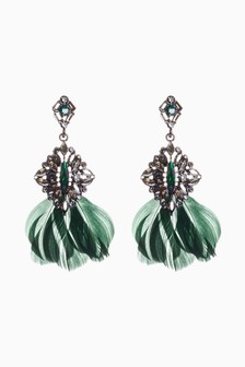 Feather Jewelled Drop Earrings