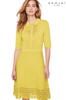 Damsel In A Dress Yellow Liona Eyelet Detail Knitted Dress