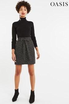 Oasis Black Crushed Spot Paper Bag Skirt