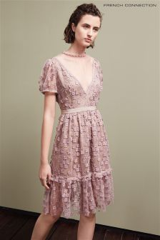 French Connection Deep Pink Caballo Lace High Neck Dress