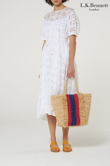 L.K.Bennett White Rego Broderie Cotton Dress