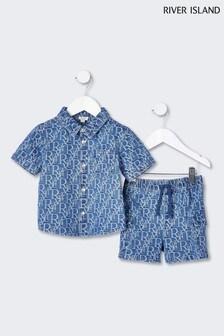 River Island Medium Denim Shirt Set