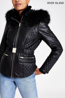 River Island Black PU Belted Coat
