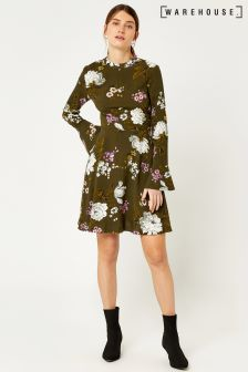 Warehouse Khaki Molly Floral Babydoll Dress
