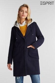 Esprit Blue Solid Twill Outdoor Woven Coat